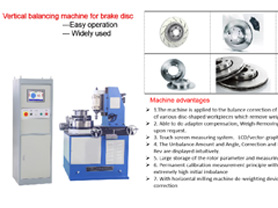 Vertical balancing machine for brake disc